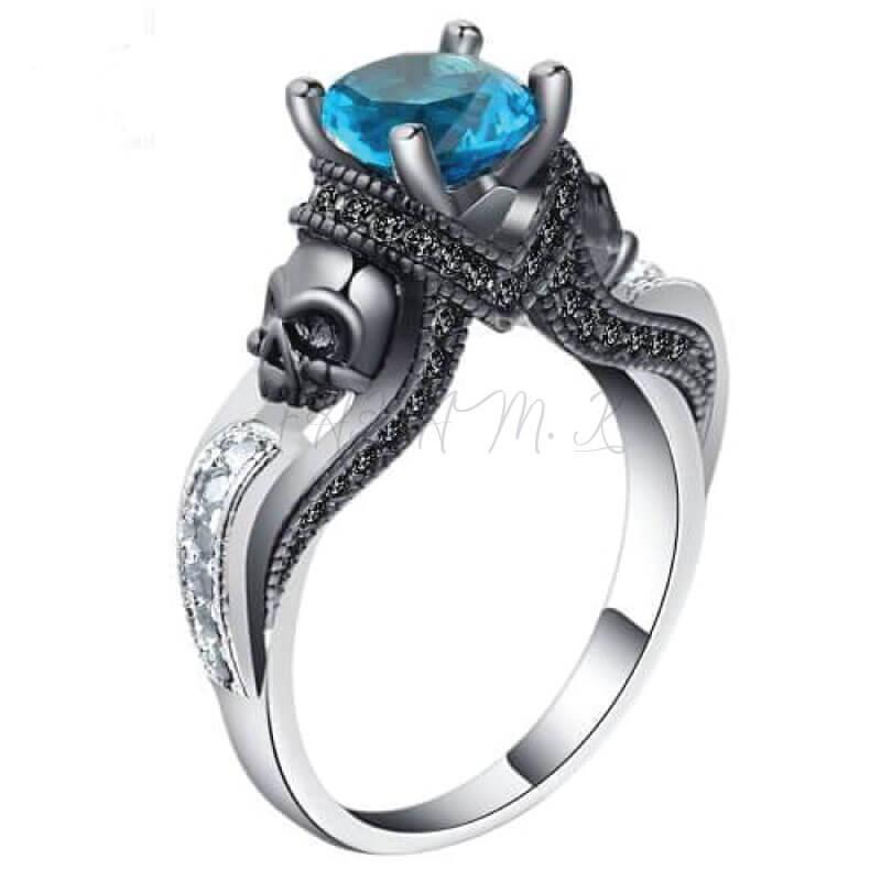 Women Skull Ring Zircon Blue,fahamk.com.