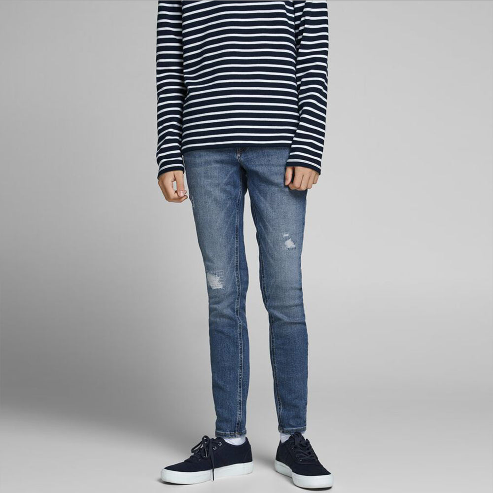 BOYS BLUE SKINNY FIT RIPPED JEANS