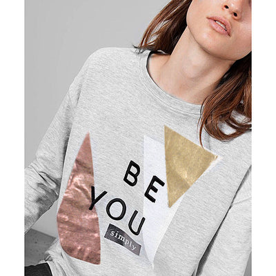 STRADIVARIUS-exclusive grey slogan embroidered sweatshirt
