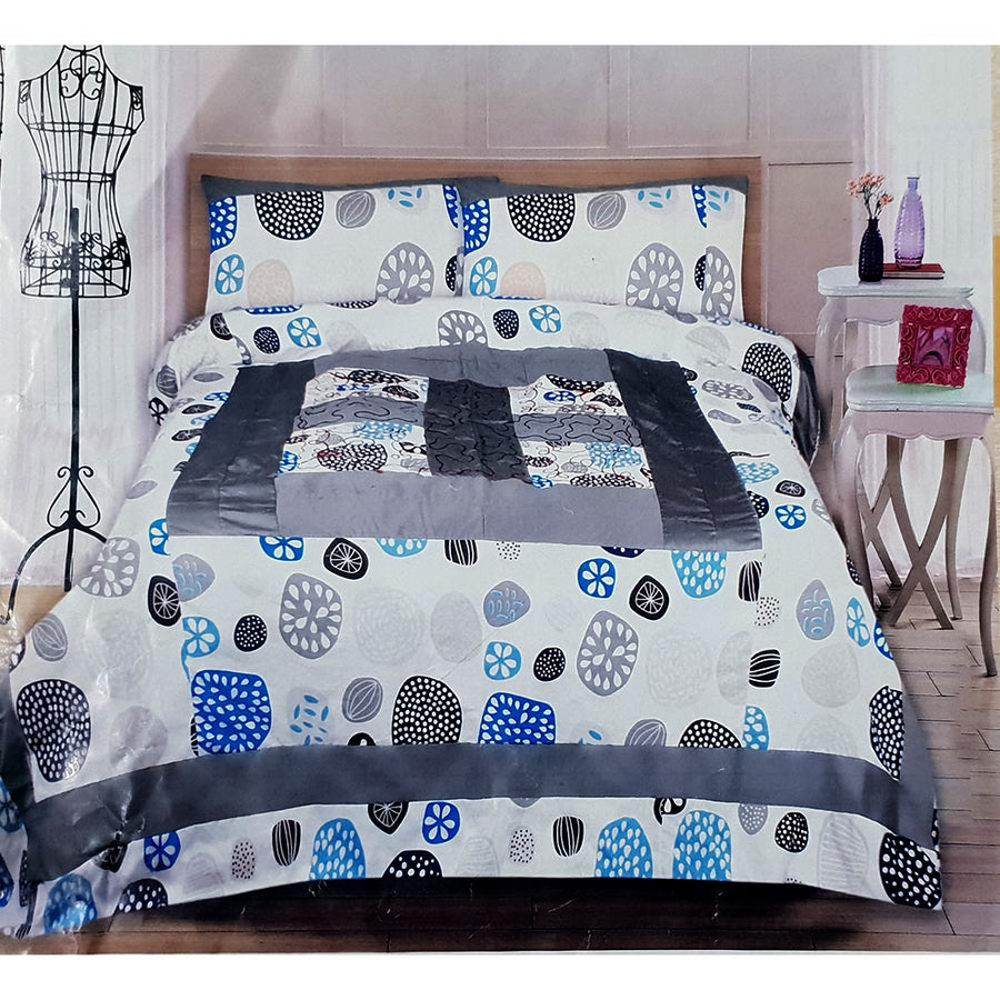 NISHAT-PRINTED PATCH WORK CENTER EMBROIDERED DOUBLE BED SHEET SET