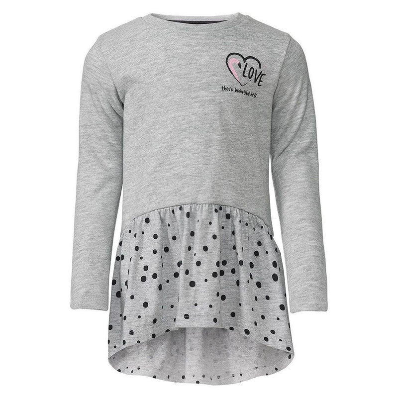 Girls grey fashion print frock (4327052902460)