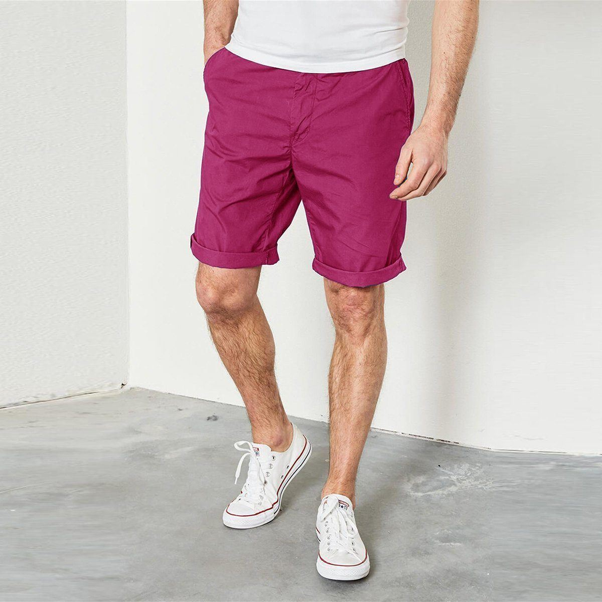 SLIM FIT NON STRETCH COTTON PINK SHORTS (3747452977212)