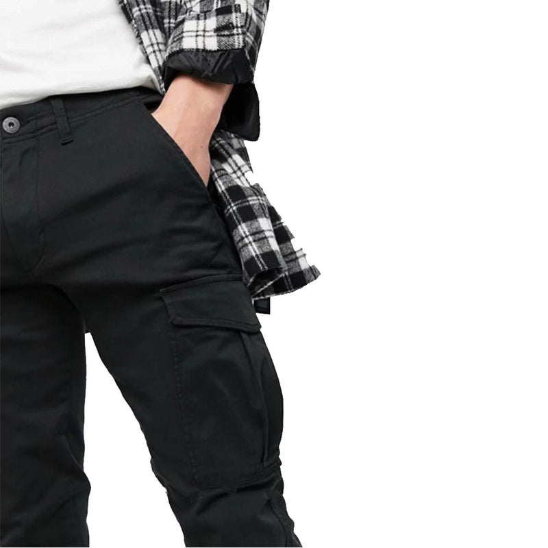 Cargo trousers with cuff in black