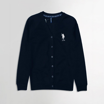 USP NAVY MEN BUTTON UP FLEECE CARDIGAN WITH SIGNATURE EMBROIDERY