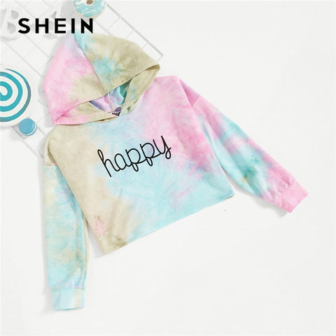 Kiddie Happy Print Tie Dye Hoodie For Girls