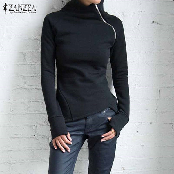 Casual Solid Long Sleeve Turtleneck Pullover