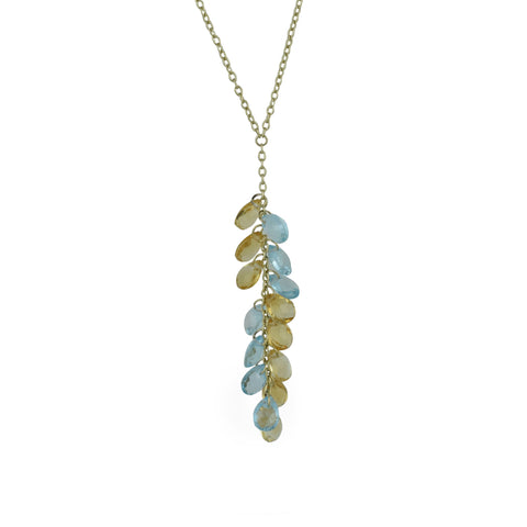 10K Yellow Gold Citrine and Blue Topaz Dangle Necklace