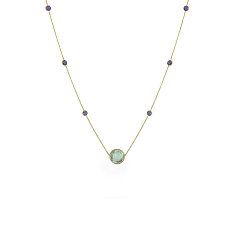 10K Yellow Gold Amethyst and Green Amethyst Necklace