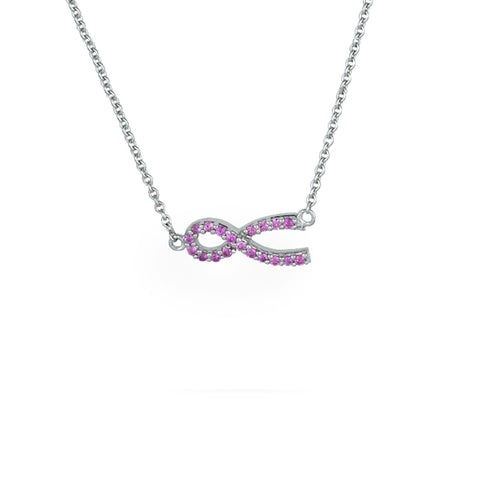 Created Pink Saphire Necklace in Sterling Silver