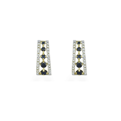 10K Yellow Gold Huggy Earrings With Sapphires and Diamonds