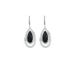 BLACK ONYX AND DIAMOND ACCENT DROP EARRINGS IN STERLING SILVER