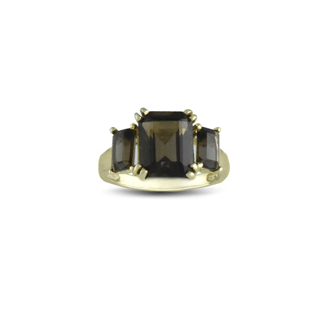 10K Yellow Gold Smokey Topaz Fashion Ring