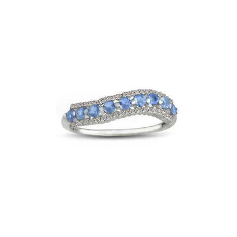 10K White Gold Tanzanite and Diamond Accent Ring
