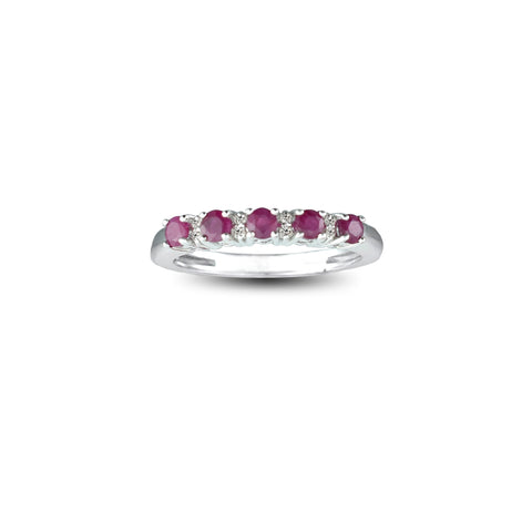 10K. White Gold Ruby and Diamond Accent Ring