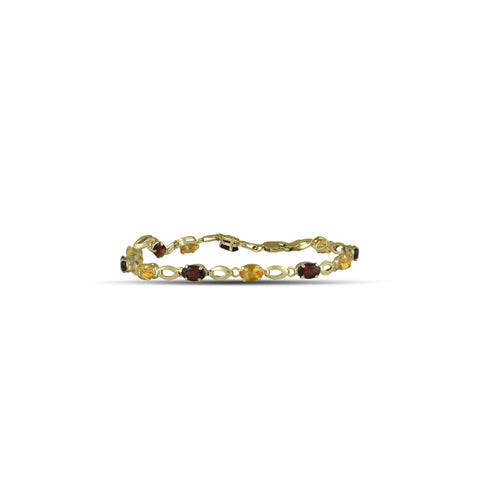 10K Yellow Gold Citrine and Garnet Bracelet