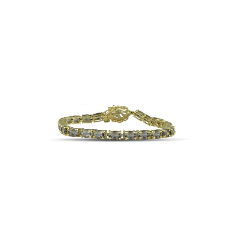 10K Yellow Gold Smokey Topaz and Diamond Bracelet with Flower Lock