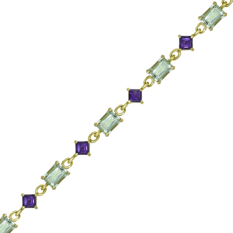 Green and Purple Amethyst Fashion Bracelet in 10K Yellow Gold