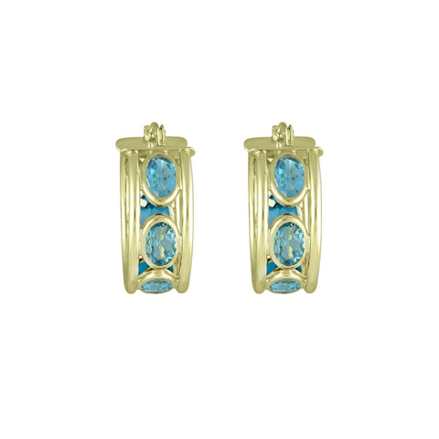 Blue Topaz Huggy Hoop Fashion Earrings in 10K Yellow Gold