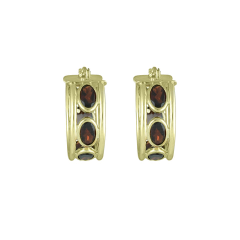 Garnet Huggy Hoop Fashion Earrings in 10K Yellow Gold