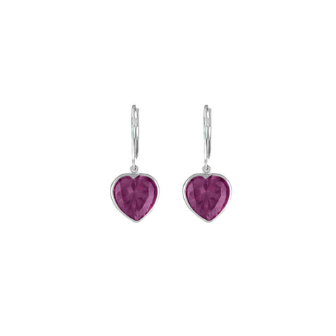 Created Pink Sapphire Heart Earrings in Sterling Silver