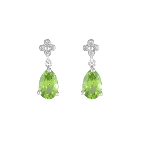 Peridot and Diamond Accent Fashion Drop Earrings in 10K