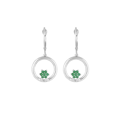 Emerald and Diamond Dangle Earrings in 10K White Gold