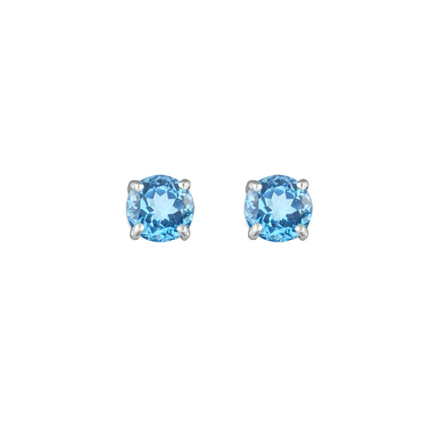 Blue Topaz Stud Earrings in 10K White Gold
