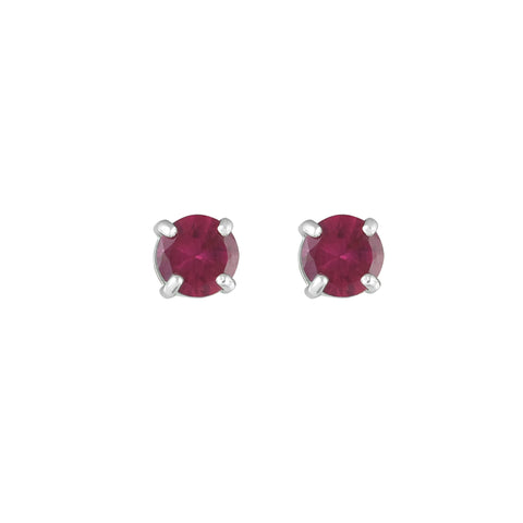 Created Ruby Stud Earrings in 10K White Gold