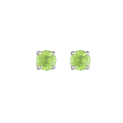 Peridot Stud Earrings in 10K White Gold