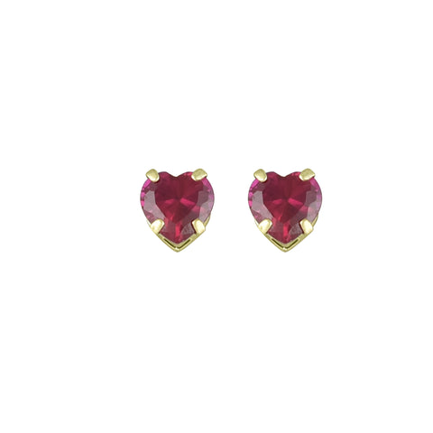 Created Ruby Heart Stud Earrings in 10K Yellow Gold