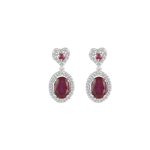 Created Ruby and Diamond Dangle Earrings in 10K White Gold