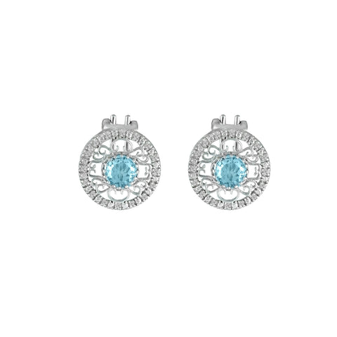 Blue Topaz and Diamond Fashion Sterling Silver Earrings