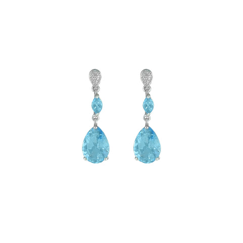Blue Topaz and Diamond Accent Sterling Silver Earrings
