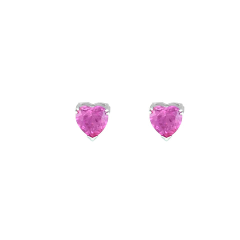 Heart Stud Earrings - Created Pink Sapphire Stud Earrings in Sterling Silver