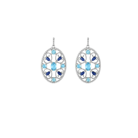 Blue Topaz, Created Sapphire Sterling Silver Earrings
