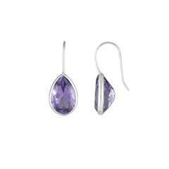 Amethyst Dangle Fashion Earrings in 10K White Gold