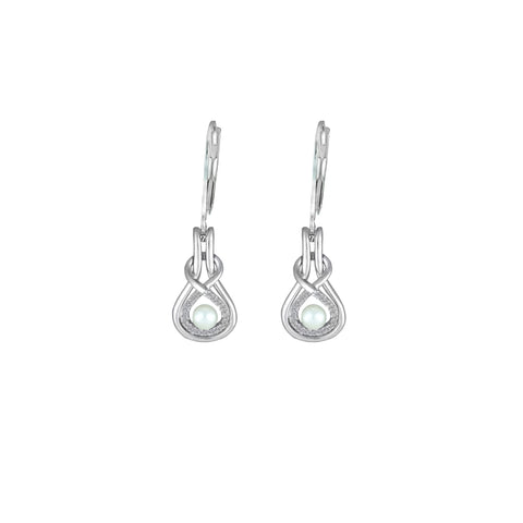 Pearl and Diamond Sterling Silver Earrings