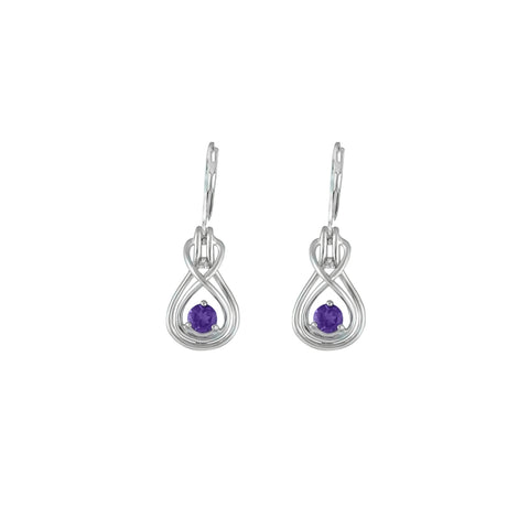 Amethyst Dangle Earrings - Amethyst and Diamond Earrings in Silver