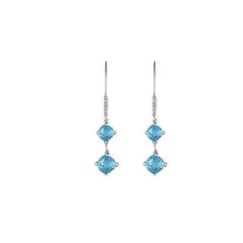 Blue Topaz and Diamond Dangle Silver Earrings