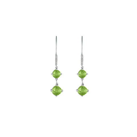 Peridot and Diamond Dangle Silver Earrings