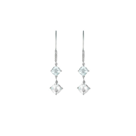 White Topaz and Diamond Dangle Silver Earrings