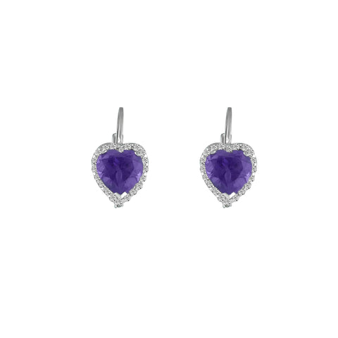 Amethyst and Diamond Heart Earrings in Silver