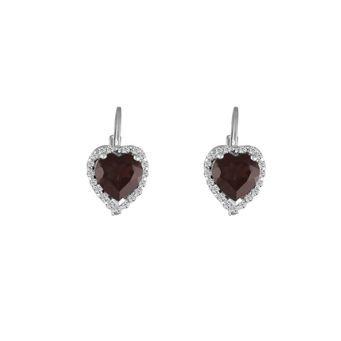 Garnet and Diamond Heart Earrings in Silver