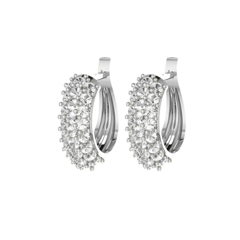 Sterling Silver White Topaz Mini Hoop Earrings
