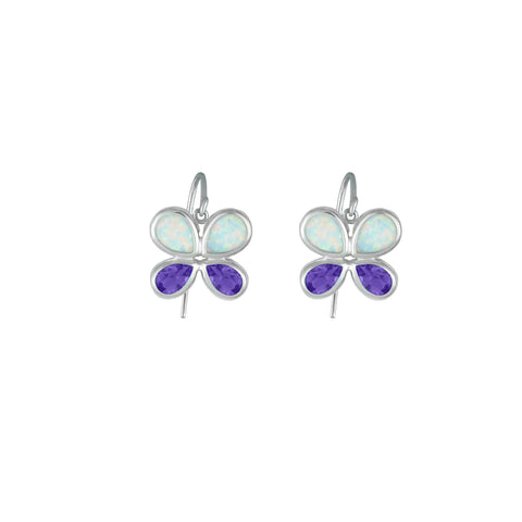 Created Opal and Amethyst Butterfly Silver Earrings
