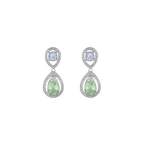 Green and Pink Amethyst Sterling Silver Earrings