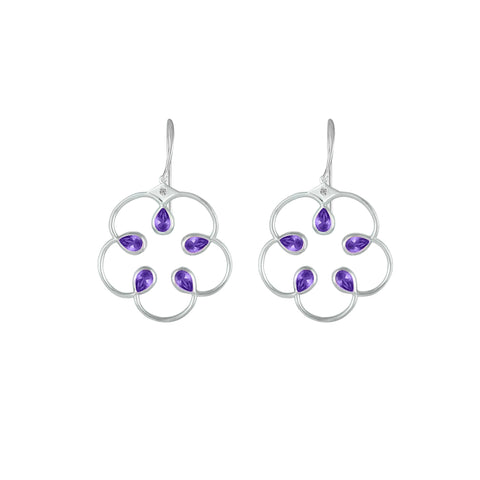 Amethyst Fashion Earrings in Sterling Silver