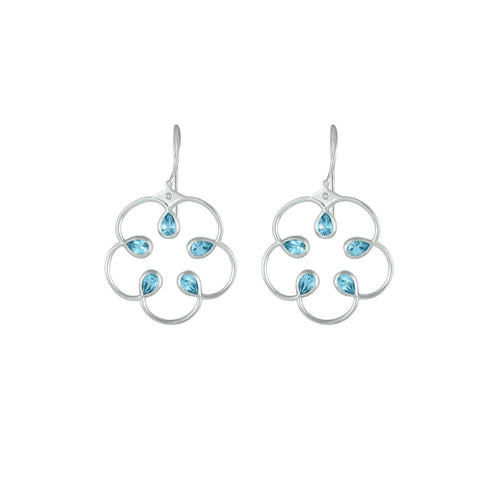 Blue Topaz Fashion Earrings in Sterling Silver
