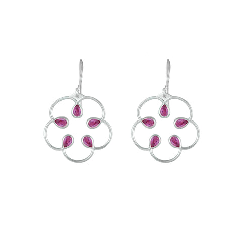 Created Pink Sapphire Fashion Earrings in Sterling Silver