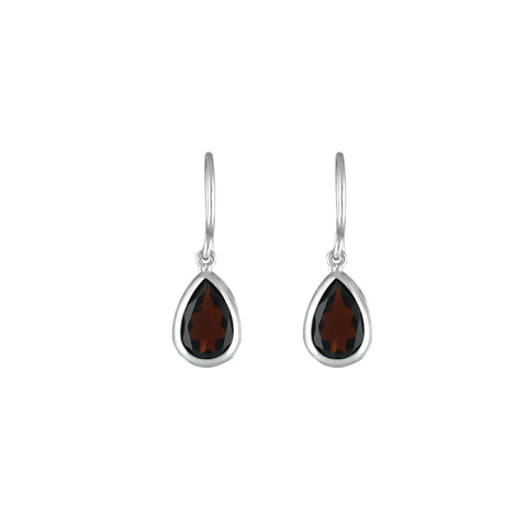 Garnet Dangle Earrings in Sterling Silver
